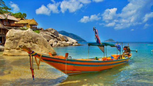 Boat Ashore at Resort, Thailand