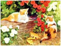 Painting - Two Cats Relaxing in the Garden