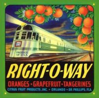 Genuine Florida Orange Crate Label 1949 Dated Stream Liner Train
