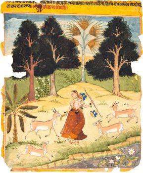 Woman Feeding Deer: Todi Ragini, from a Ragamala c. 1610 Northwestern India