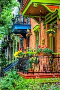 Colorful House in the Le Plateau Borough of Montreal, Quebec, Canada....