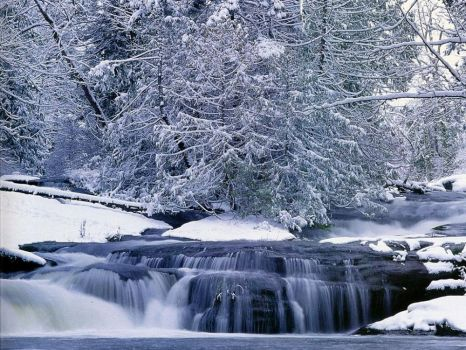 Waterfall in winter British Columbia, Vancouver  Island