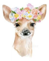 Fawn Floral Wreath