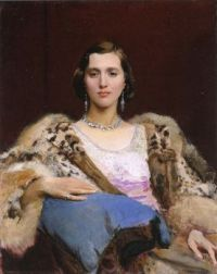 George Spencer Watson miss Dewitt wearing a leopard stole