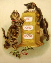 "Happy New Year (""Okay, you turn the knob and I'll catch the treat!"""