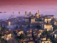 View of Bergamo on foggy morning, Lombardy, Italy