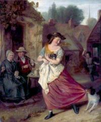 """Village Scene of a Girl Carrying a Puppy""-William Redmore Bigg"