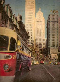 Sao Paulo in the 50's - bus and tram at the back
