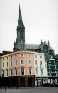 Cobh Cathedral (with a pub in front)