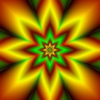 Eight Pointed Star in Red Green and Gold