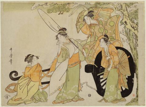 Four Beauties in a Parody of the Carriage-pulling Scene (Kurumabiki)
