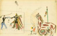 Sitting Bull Shooting Another Warrior ~ historical ledger art by Howling Wolf (Southern Cheyenne)