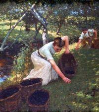 Henry Herbert La Thangue British painter 1859  1929 Gathering Plums