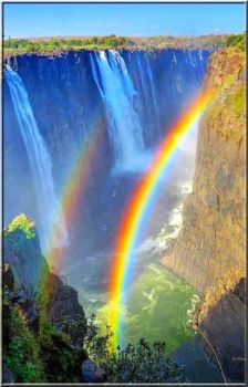 Rainbow Showers Color on Waterfalls