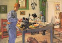 "Carl Larsson, ""My Acid Workshop, where I do my Etching."""
