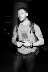 Tom Hardy, also in black and white