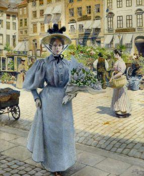 """Paul Gustav Fischer, """"Flower Market"""""""