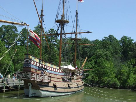 Actual reconstruction of one of the three ships bringing settlers to Jamestown Va.