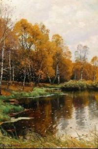 "Peder Mørk Mønsted,  ""A Forest in Autumn"""