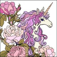 A beautiful unicorn with flowers