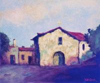 Mission San Fernando Rey, painted by  Wil Sparks, circa 1922.