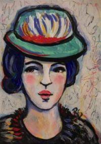 Lady Portrait in a Colourful Hat - Roberta Schmidt