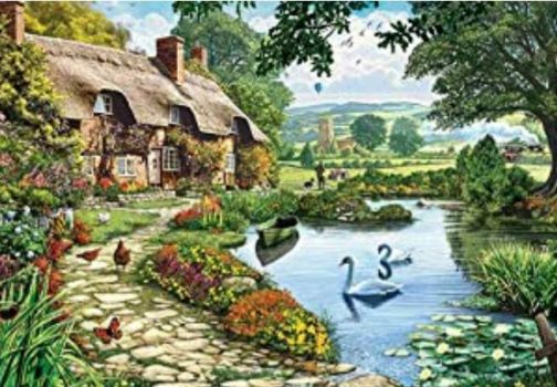 Cottage and Swans