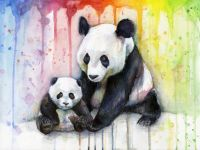 Mom and Baby Pandas in Rainbow