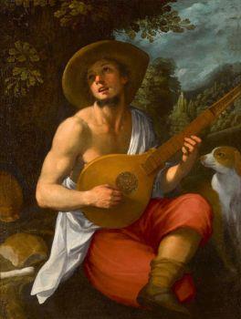 Astolfo Petrazzi (Italian, 1580–1653), A Shepherd Playing the Cetera