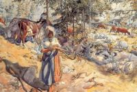 "Carl Larsson, ""Cowherd"""