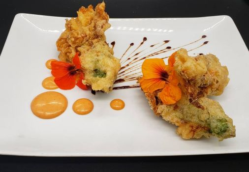Squash Blossoms with Stuffed Shrimp