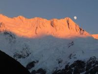 Sunrise, moonset at Mt. Cook NP