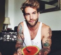 Cute guy with watermelon