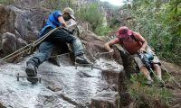Climbers at work building a via ferrata in S. E. Queensland