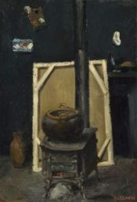 Paul Cézanne: The Stove in the Studio (ca. 1865)