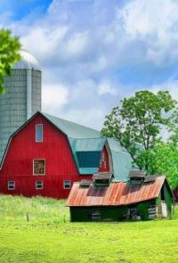 Red Barn With Silo in Upstate New York...