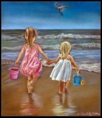 ~Two little girls on the beach 🏖~