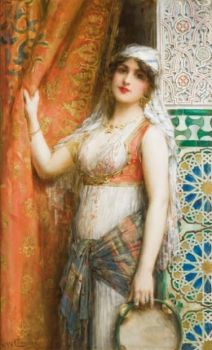 Young lady with Tambourine - Leon Frnaçois Comerre