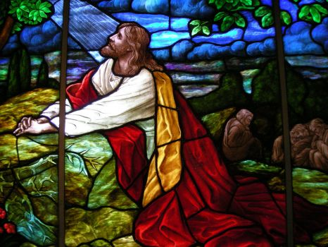 Stained Glass Jesus Praying In The Garden of Gethsemane