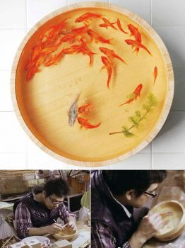 three d fish painting by Riusuke Fukahori