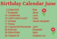 Birthday Calendar June big letters
