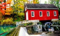 Red Mill and Waterfall