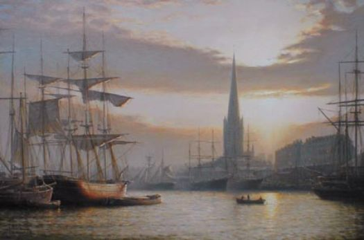 Sunset over the Bristol Docks 1885 - by Rodney Charman - http://www.marine-artist.com/