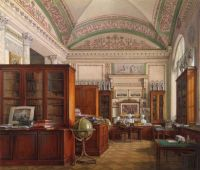 Edward Petrovich Hau, Interiors of the Winter Palace (1871). The Library of Emperor Alexander II