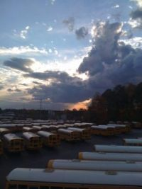 Sunset over School Buses