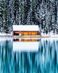 Cabin By The Lake In Winter....