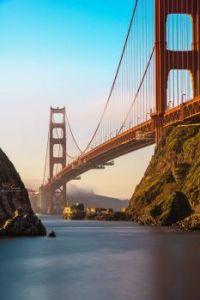 Lime Point Lighthouse under Golden Gate Bridge