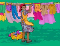 African American folk art .. Laundry Day