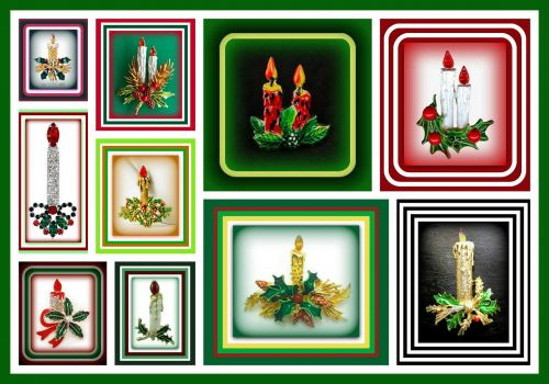 Merry Christmas Candle Brooches