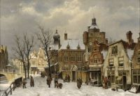 Willem Koekkoek--Dutch city view in winter